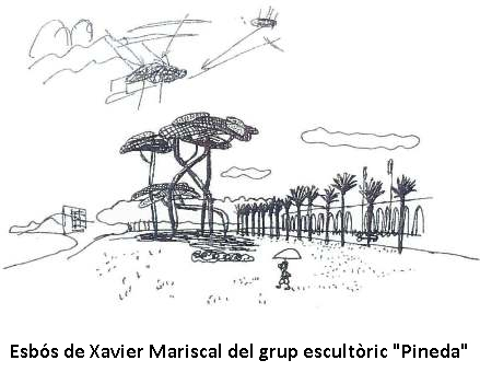 Esbós del grup escultòric Pineda de Xavier Mariscal
